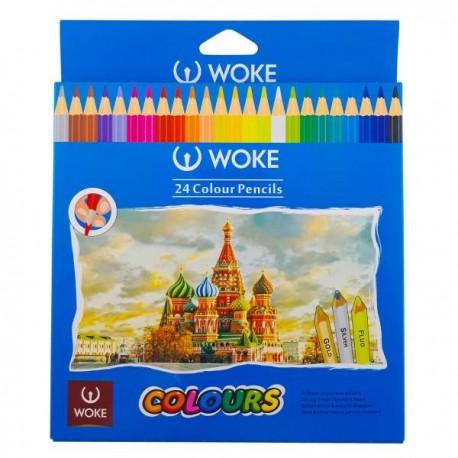 مداد رنگی مقوائی 24 رنگ ووک
