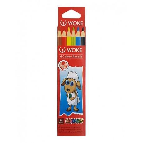 مداد رنگی مقوائی 6 رنگ ووک